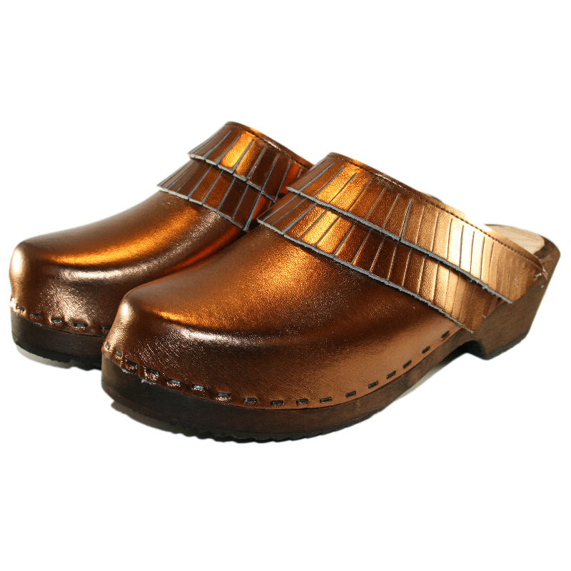 Annie Traditional Heel Clogs in Metallic Bronze Leather