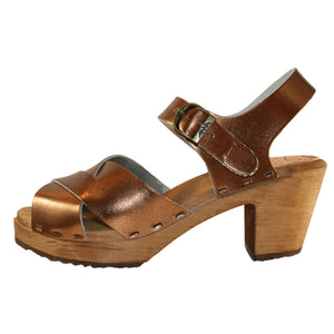 Bronze Metallic High Heel Heather Sandal