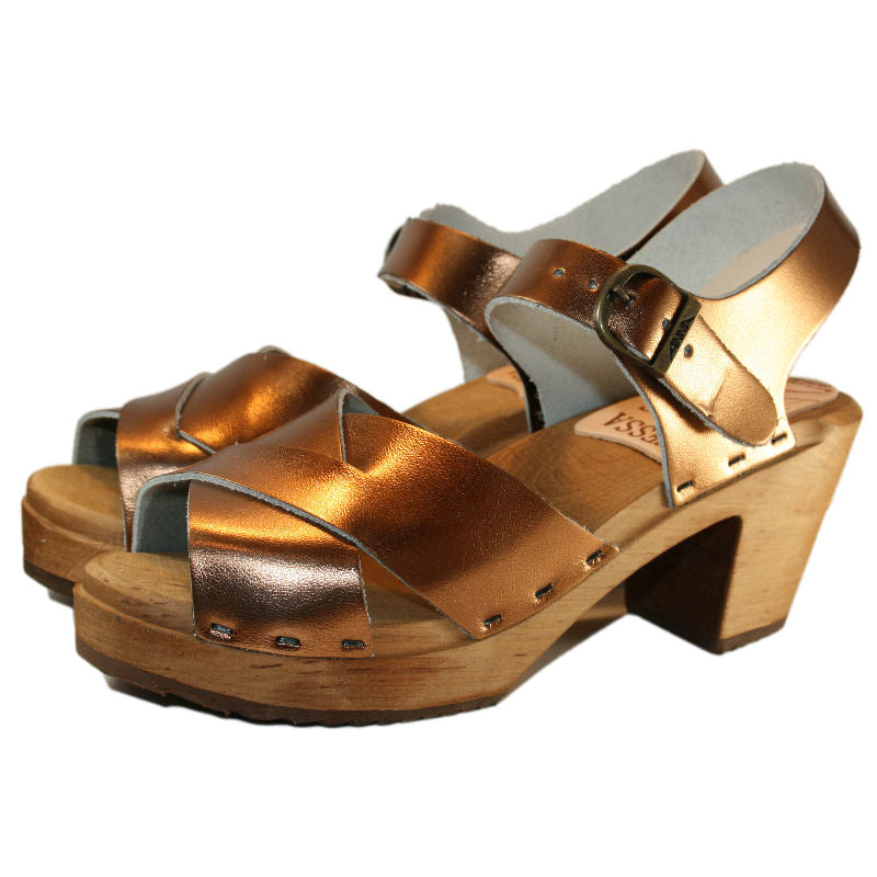 High Heel Bronze Metallic Heather Sandal