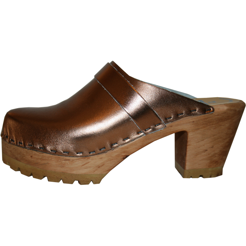Bronze Metallic High Heel Mountain Tessa Clog