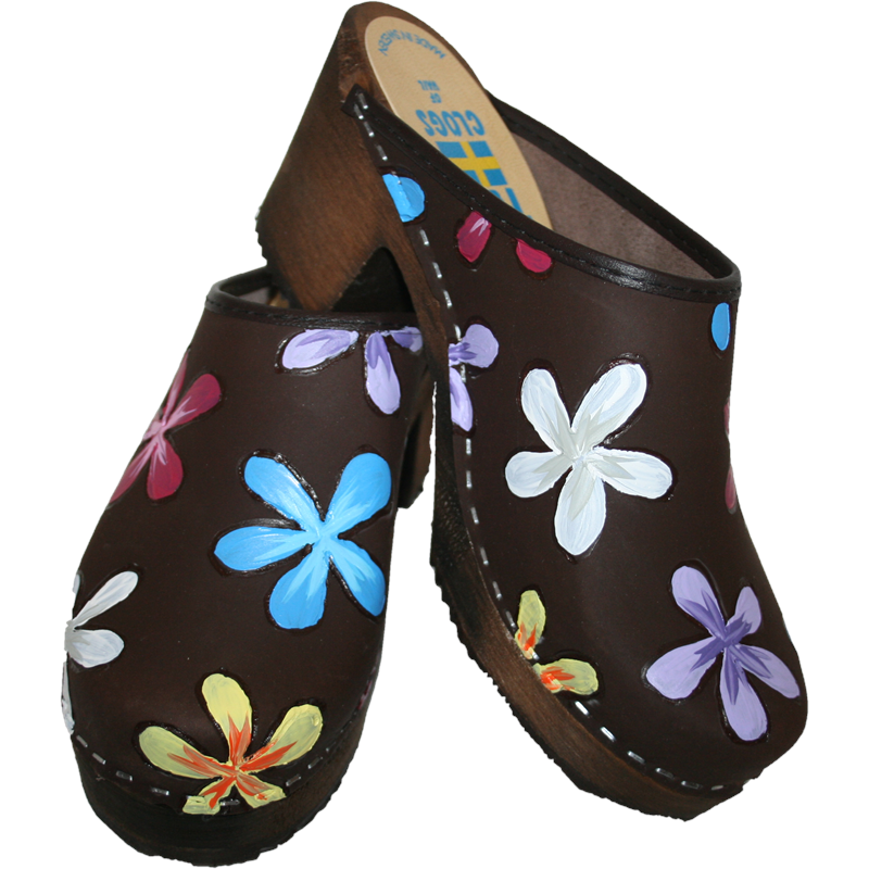 Tessa Clogs in our High Heel hand painted Annika design