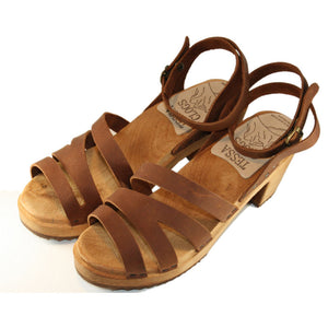 High Heel Kathrine Sandal in Golden Brown Oil Tanned Leather