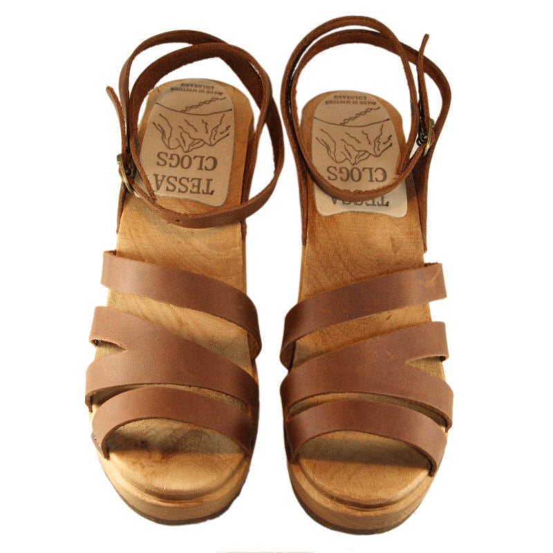 High Heel Katherine Sandal in Golden Brown Leather