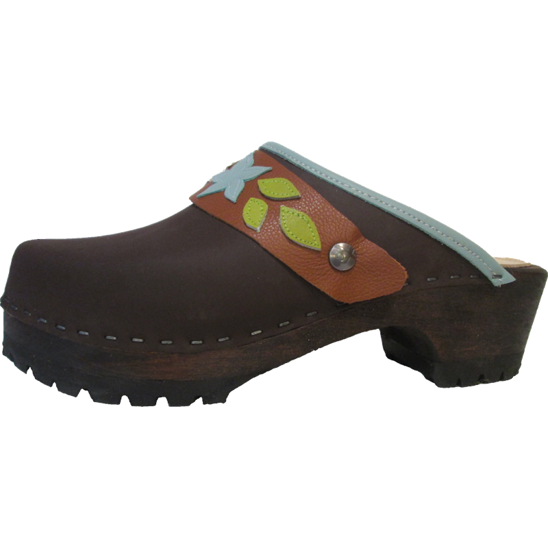 Tessa Brown Mountain Clogs with Light Turquoise Ivy Strap