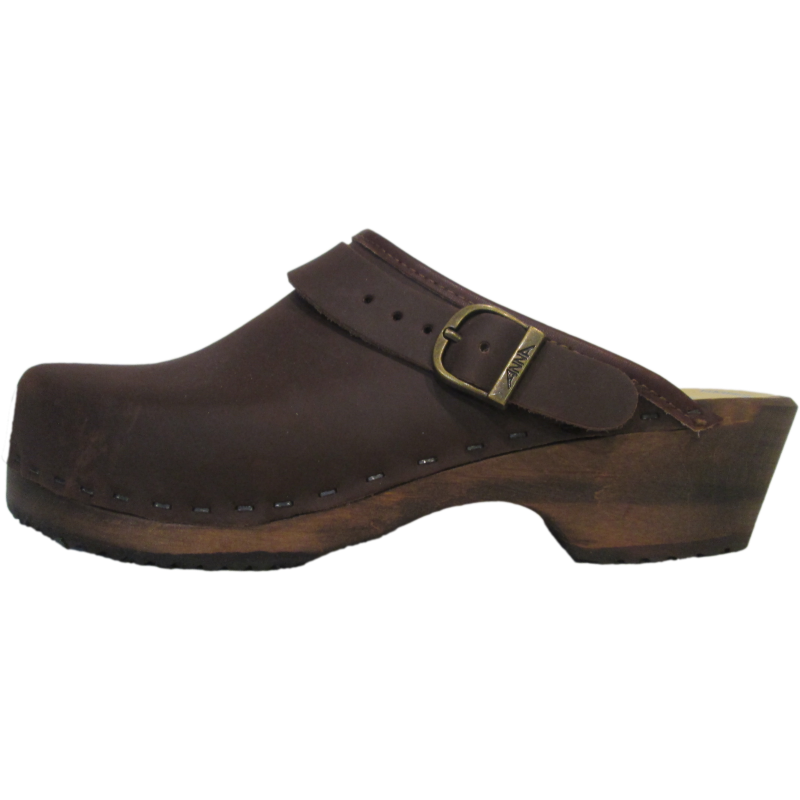 Men's Brown Oil Tanned Leather Traditional Heel Clog