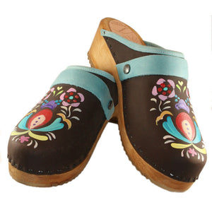 Hand painted Traditional Heel Astrid Clogs