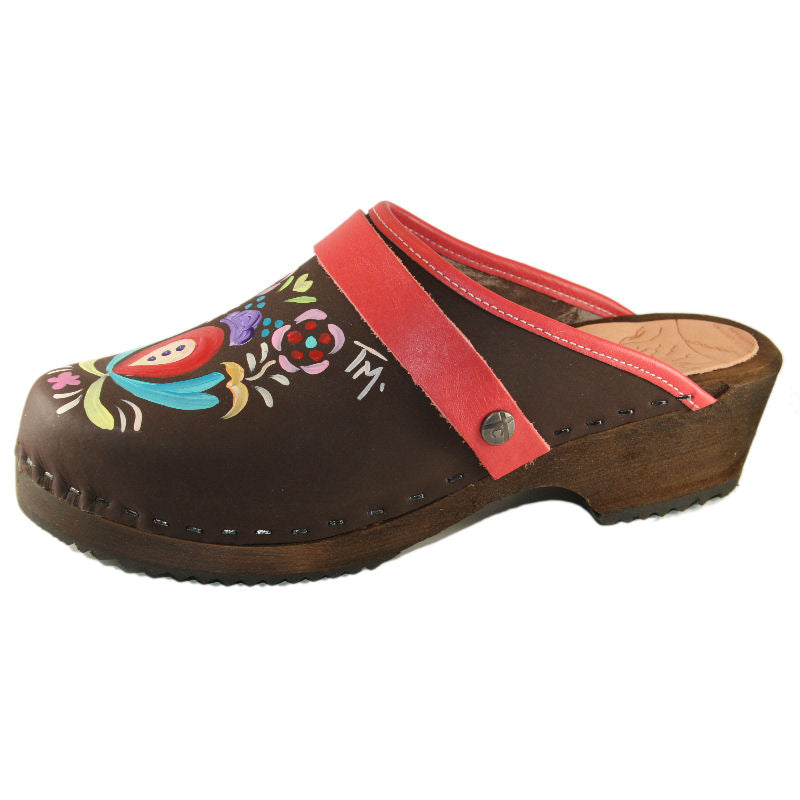 Brown Oil Astrid Hand painted Clog with coral red snap strap