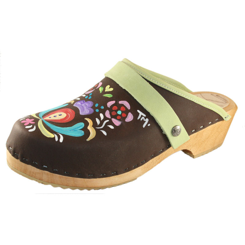 Brown Oil Astrid Hand painted Clog with lime green snap strap