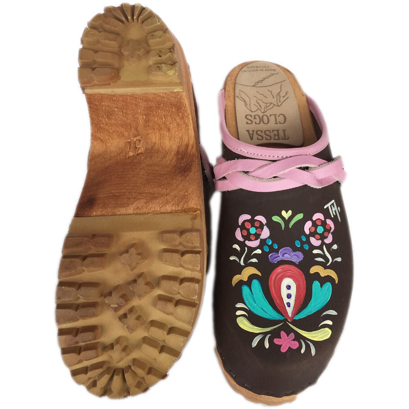 Brown Oil Astrid Hand Painted Mountain Clog