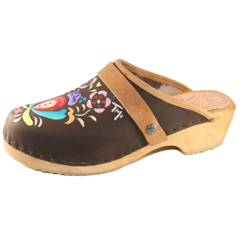 Brown Oil Astrid Hand painted Clog with Tan snap strap