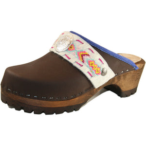 Brown Oil Mountain Clogs with Limited Edition Boho Strap Meadow