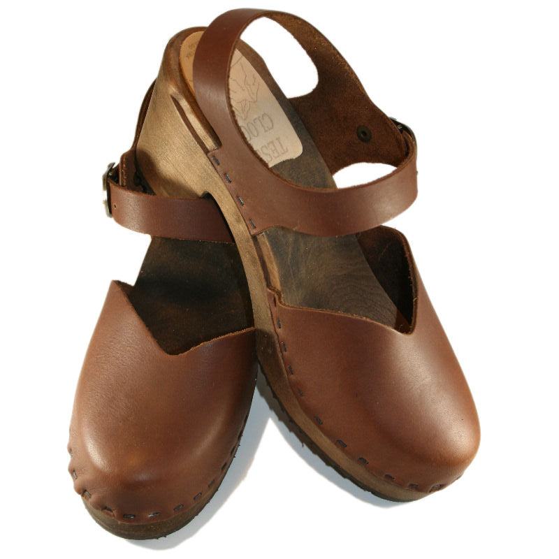 Brown Oil Tanned High Heel Moa Sandal