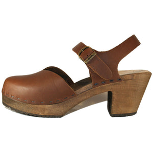 High Heel Brown Oil Tanned Moa Sandal