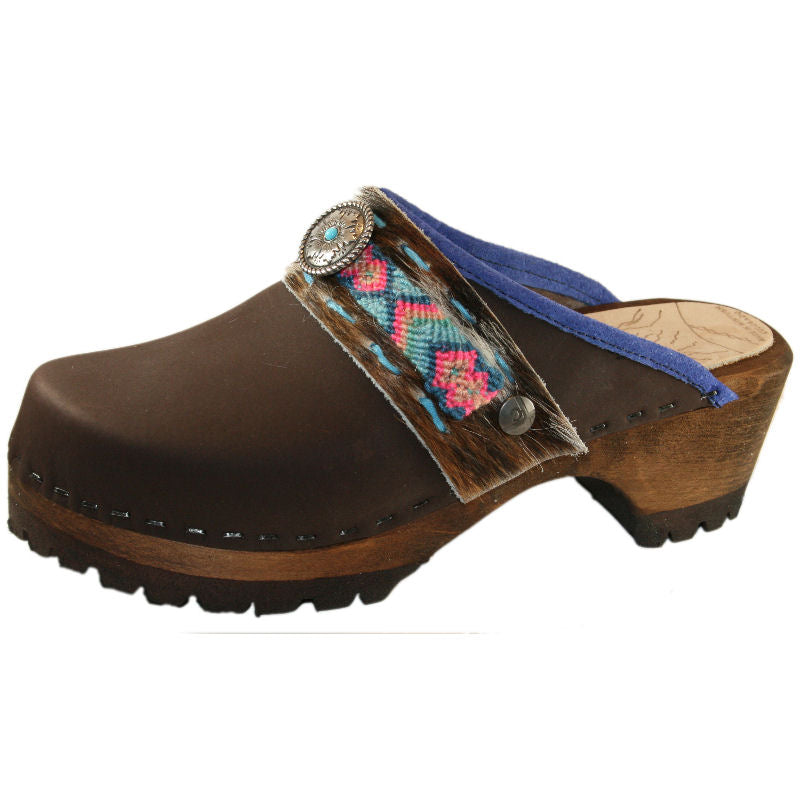 Brown Oil Mountain Clogs with Limited Edition Boho Strap Willow
