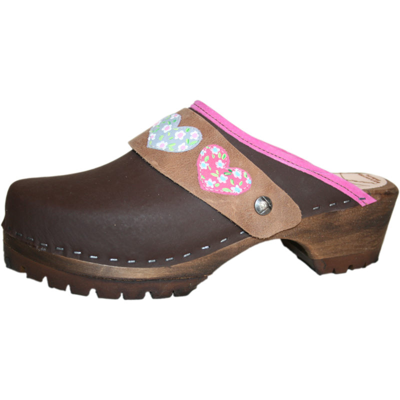Brown Oil Mountain Clogs with Hot Pink Edge and Sewn Ingrid Heart Strap