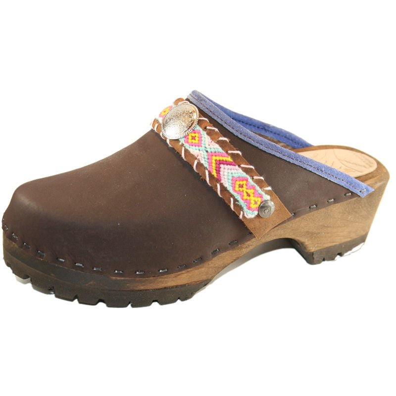 Brown Oil Mountain Clogs with Limited Edition Boho Strap Tabitha