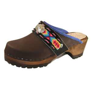 Brown Oil Mountain Clogs with Limited Edition Boho Strap Mirabelle