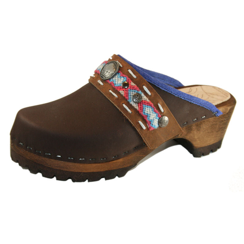 Brown Oil Mountain Clogs with Limited Edition Boho Strap Clementine