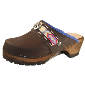 Brown Oil Mountain Clogs with Limited Edition Boho Strap Larkin