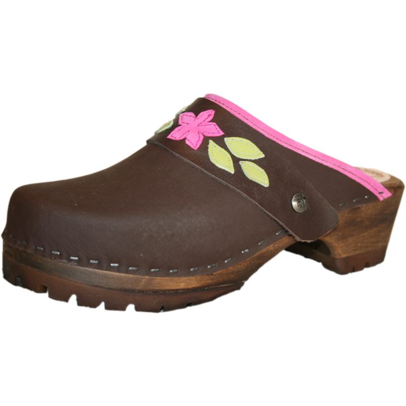 Brown Mountain Clog with Sewn Hot Pink Ivy Strap