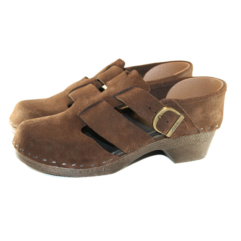 Brown Suede Closed Back Esther Flex Sole Clogs