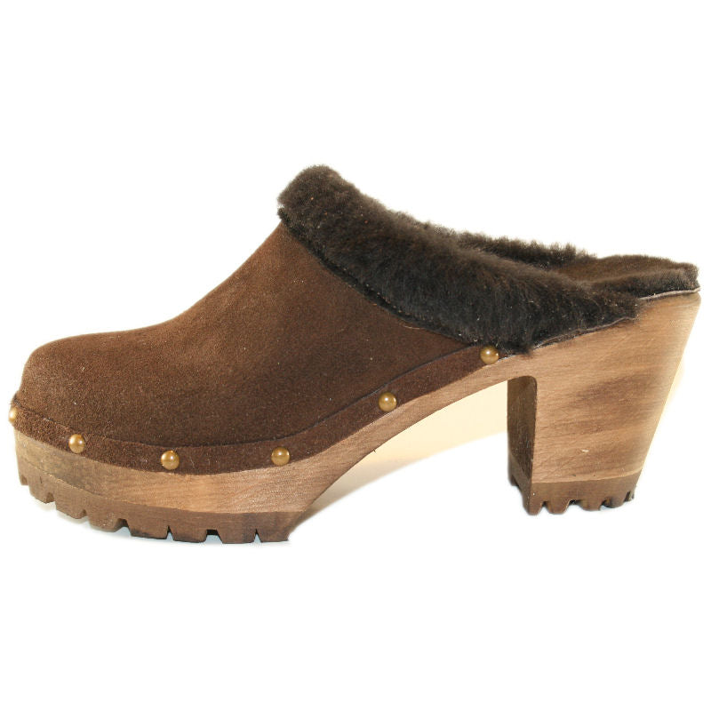 High Heel Mountain  Brown Suede Shearling with Decorative Nails