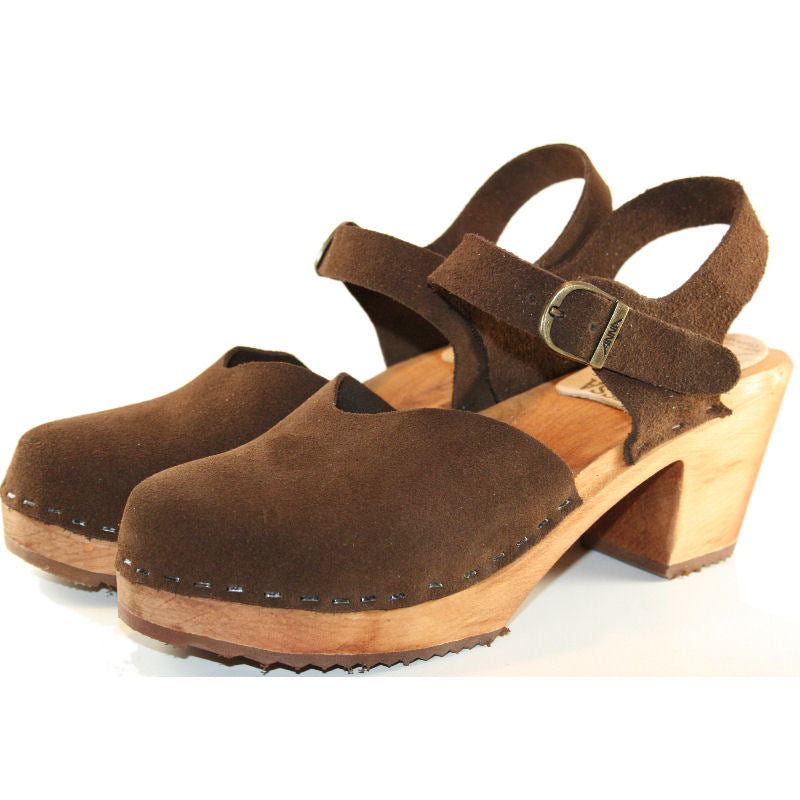 High Heel Brown Suede moa sandal