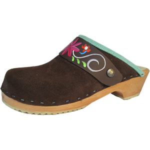 Traditional Heel Brown Suede with Handpainted Strap