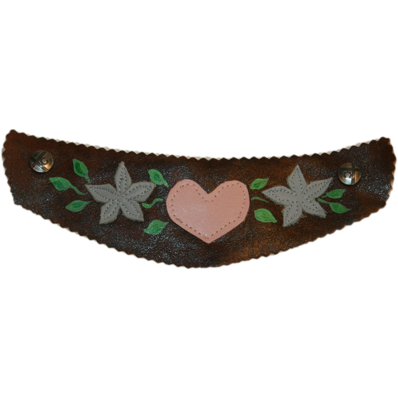 Brown Extra Wide Snap Strap with Sewn Heidi Design with Pink Heart