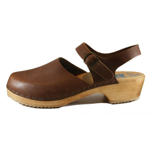 Traditional Heel Moa Sandal Tessa Clog in Brown Oil
