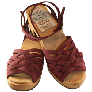 Braided Sandal Madeleine in Burgundy Nubuck on our High Heel