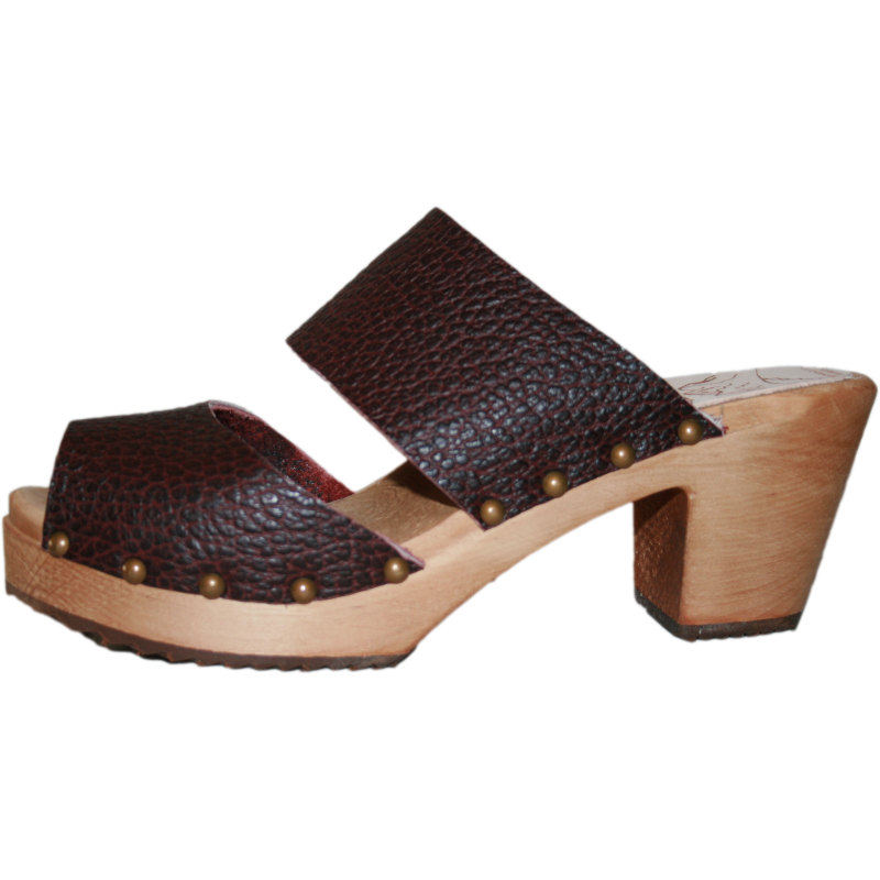 High Heel Two Strap Pebbled Leather Sandal 40 % off
