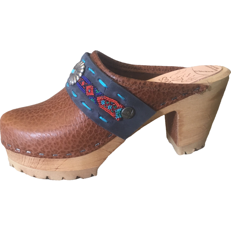 Caramel Pebbled Leather High Heel Mountain clogs with Limited Edition Lorena Boho Strap