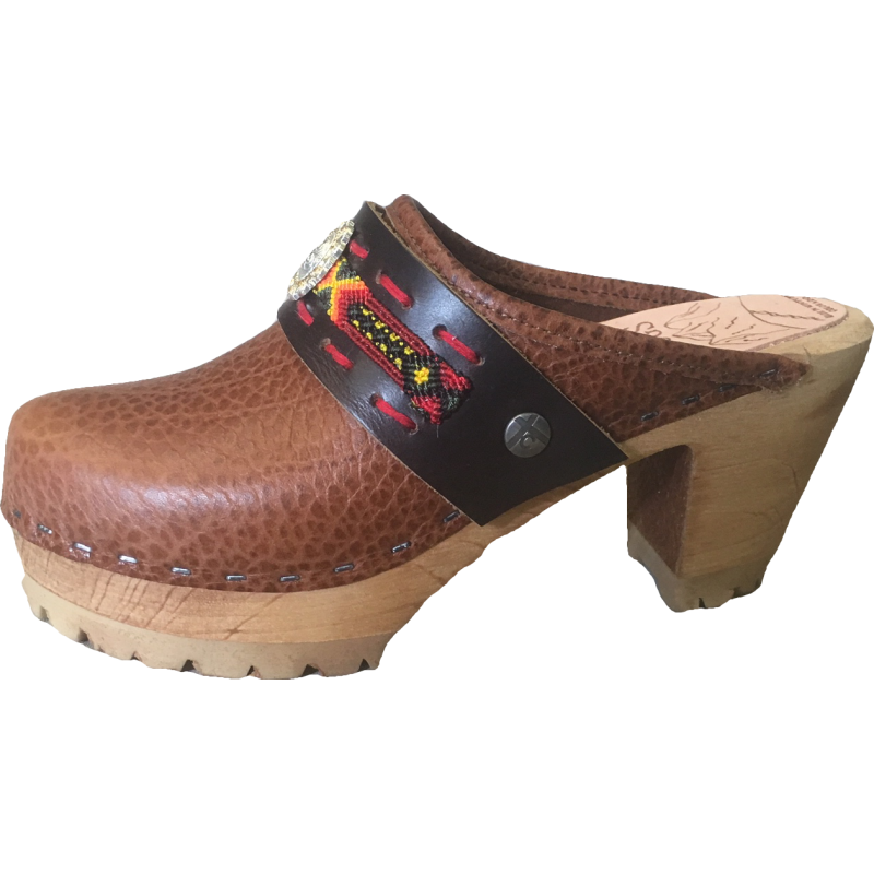 Tasmin Boho Strap on Caramel Pebbled Leather High Heel Mountain Tessa Clogs