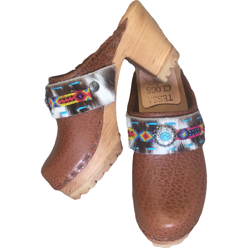 High Heel Mountain Caramel with Janey Boho Strap Clogs