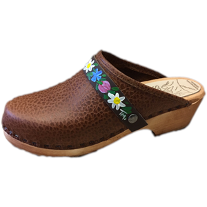 Traditional Heel Caramel Pebbled Leather with Hand Painted Brown Flower bandSnap Strap