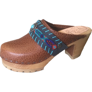 Limited Edition Boho Strap Rachel on Pebbled High Heel Mountain Clogs Mountain