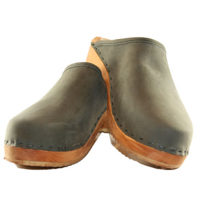 Traditional Heel Charcoal Nubuck Clog