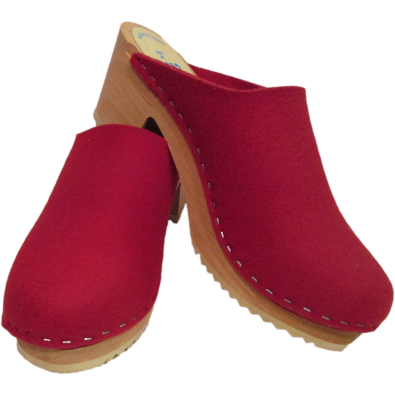 Tessa High Heel Felt Wool Dark Red