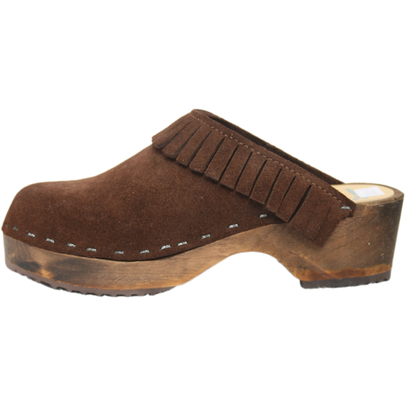 Tessa Children's Brown Suede Clog with Fringe
