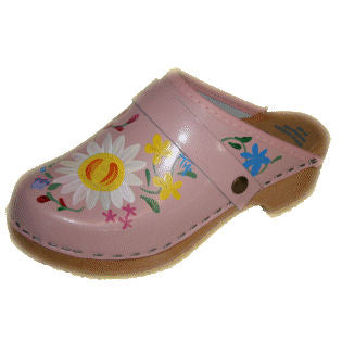 Tessa Children's Hand Painted Pink Aiden Clogs