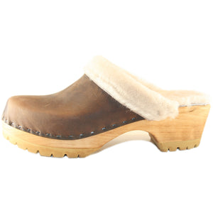 Cream Shearling lined Mountain Clog in Chocolate Leather