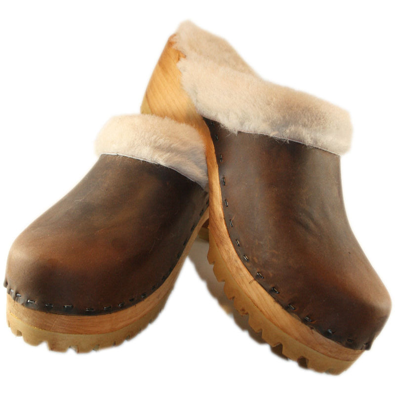 Chocolate Brown Mountain Clogs lined with Cream Shearling