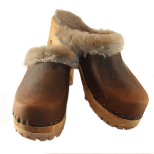 Chocolate Oil Tanned Leather Shearling Mountain Clogs