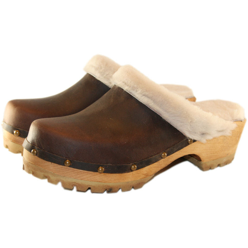 Mountain Clogs in Dark Chocolate Leather  and Cream Shearling