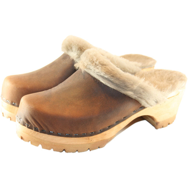 Mountain Sole Chocolate Shearling Clogs