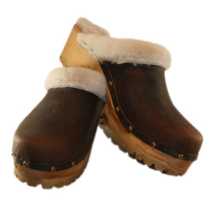 Dark Chocolate Leather Mountain Sole Clogs