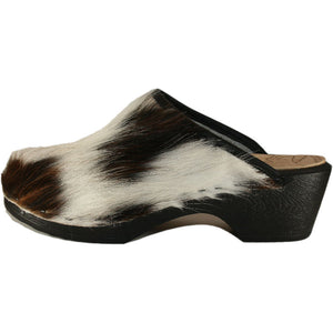 Tricolored Cow Flexible Clogs