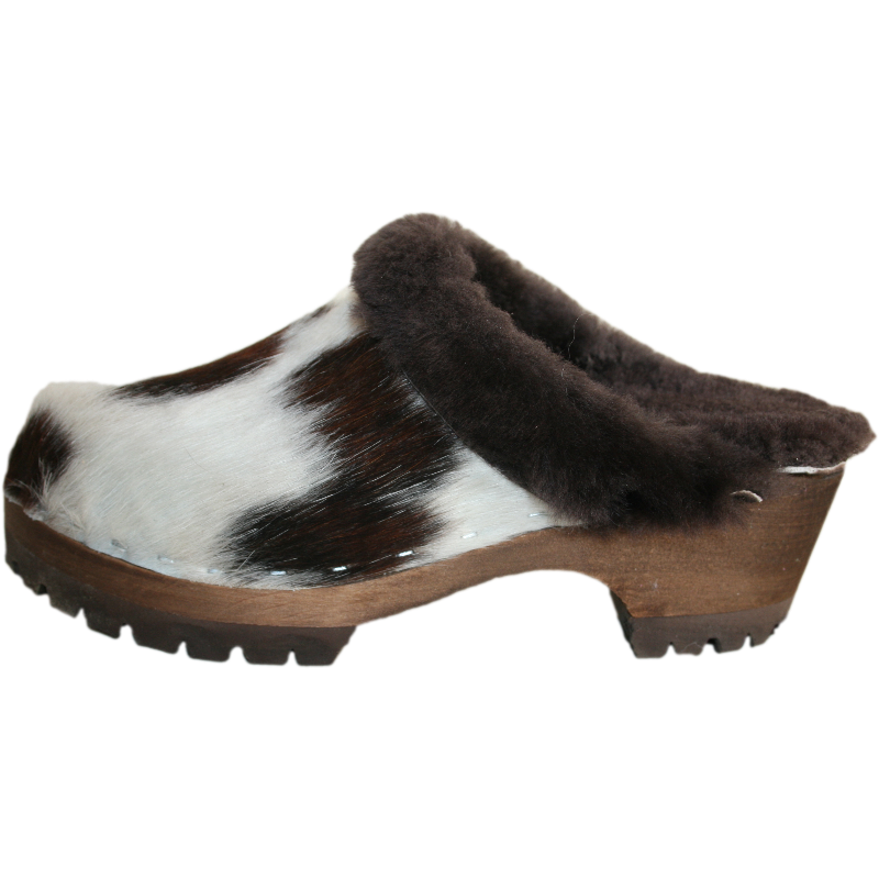 Tri Colred Cow Shearling Lined Mountain  Clogs