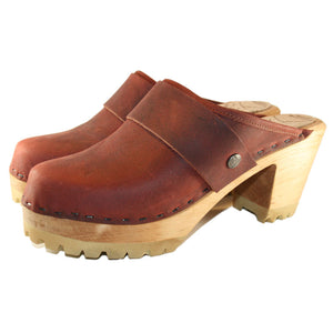 High Heel Mountain Sole in Dark Brick Oil Tanned Leather with Wide Snap Strap
